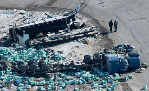 The catastrophic scene after the fatal crash. (AAP)
