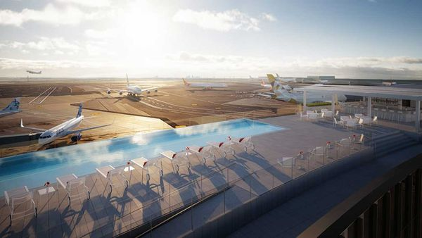 A rendering of the JFK TWA Hotel's spectacular rooftop infinity pool, overlooking the runway