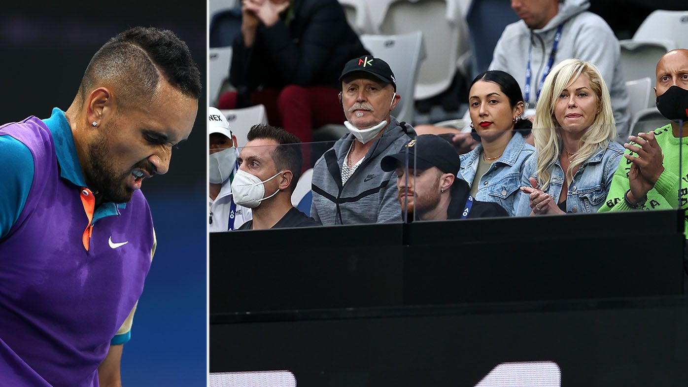 Nick Kyrgios has yelled at his own box during his first match at the Australian Open.