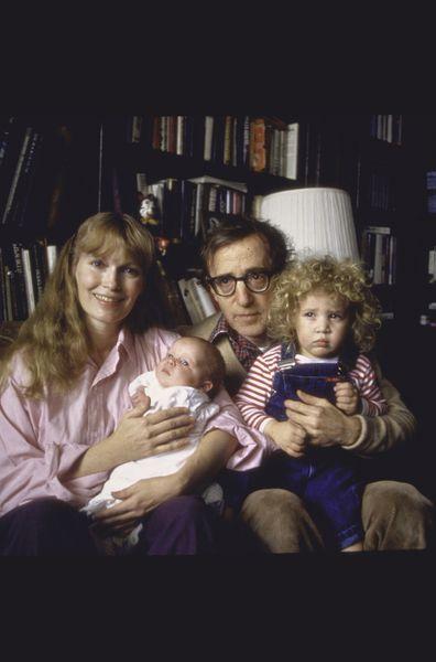 Actress Mia Farrow, Woody Allen, son Satchel, daughter Dylan