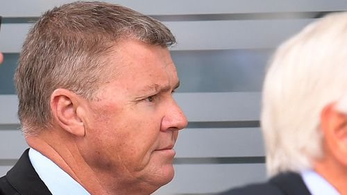 Dave Hanna arrives at the District Court in Brisbane, today.