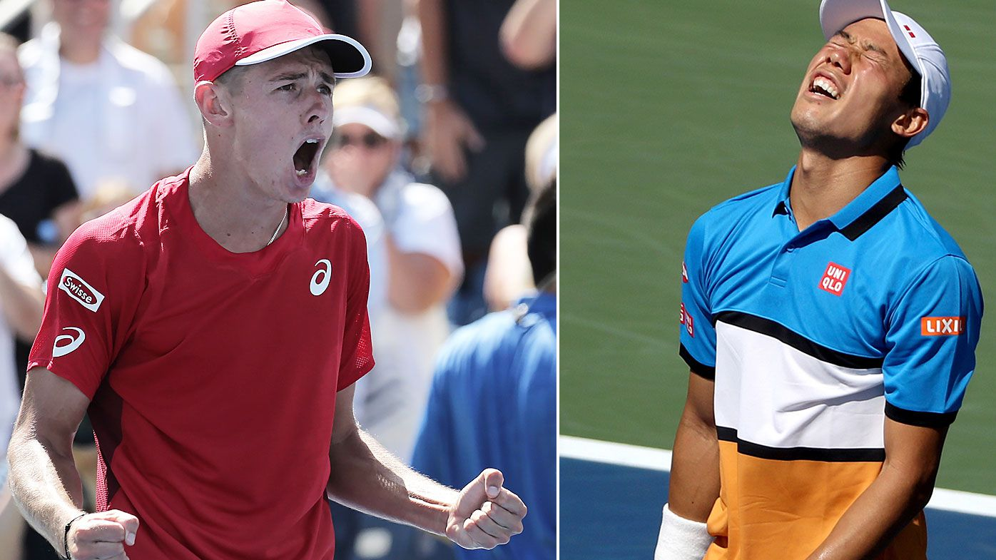 Alex de Minaur reacts to his huge win over Kei Nishikori at the US Open.