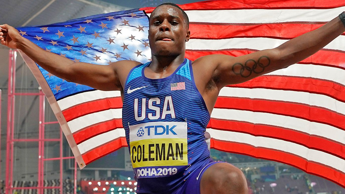 Christian Coleman, of the United States, celebrates winning the gold medal in the men's 100m final race at the World Athletics Championships in 2019