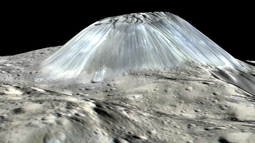 3D visualisation of a mountain on the dwarf planet Ceres based on data from Nasa's Dawn satelliteCredit: NASA/JPL-Caltech/UCLA/MPS/DLR/IDA