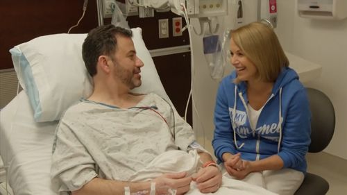 Katie Couric joked with Kimmel that keys, toy soldiers and a harmonica were recovered in colonoscopy. (ABC)