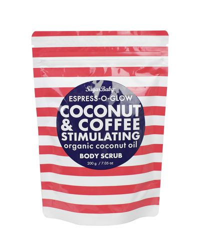 SugarBaby Espress-O-Glow Coconut & Coffee Stimulating Body Scrub, $14.95.