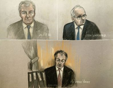 Court artist sketch by Elizabeth Cook, depicting Ian Mill QC, top left, Justin Rushbrooke QC, top right, and judge Mr Justice Warby, bottom, at the Royal Courts of Justice in London, Tuesday Jan. 19, 2021, during Meghan Duchess of Sussex's High Court privacy action against Associated Newspapers (ANL) for their publication of a handwritten letter to her estranged father