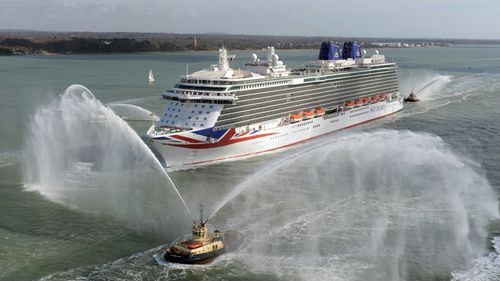 P&O's cruise ship Britannia sails into Southampton in the UK, in March 2015.