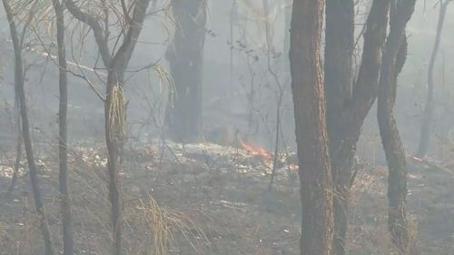 The QFES said the approaching bushfire was unpredictable and dangerous.