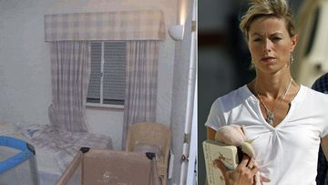 Kate McCann and the bedroom where Madeleine and her brother and sister slept.
