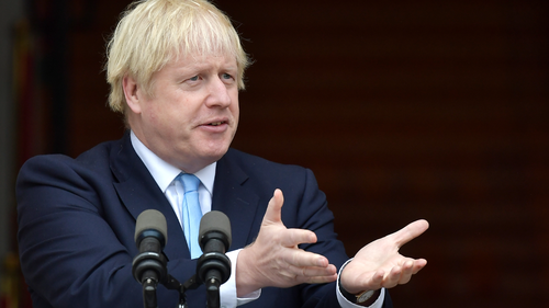 DUBLIN, IRELAND - SEPTEMBER 09: British Prime Minister Boris Johnson speaks to the media ahead of his meeting with Irish Taoiseach Leo Varadkar at Government Buildings on September 9, 2019 in Dublin, Ireland. The meeting between the Prime Minister and the Taoiseach focused on Brexit negotiations, with Varadkar warning Johnson that leaving the EU with no deal risked causing instability in Northern Ireland. (Photo by Charles McQuillan/Getty Images)