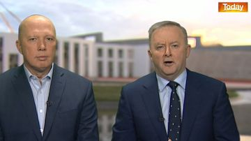 Peter Dutton and Anthony Albanese at close quarters this morning.