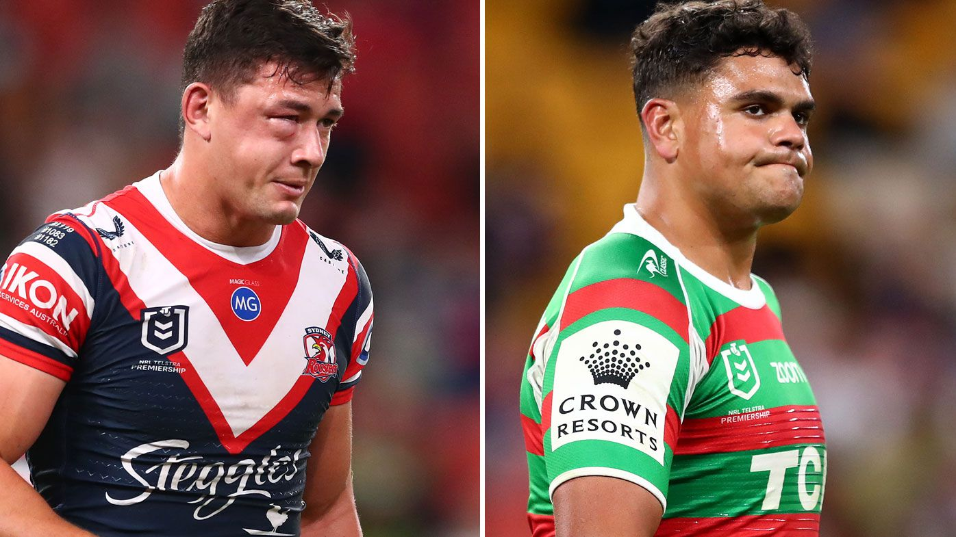 Joey Manu suffered a suspected facial fracture after a big hit from Latrell Mitchell.