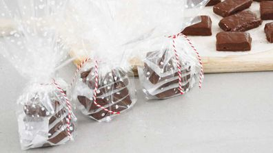3-ingredients fudge, wrapped and ready for Christmas
