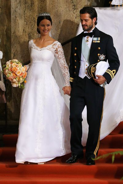 <strong>Who:</strong> Sofia Hellqvist married Sweden's Prince Carl Philip<br /><strong>Dress:</strong> Haute couture gown by Swedish designer Ida Sjöstedt <br /><strong>Where:</strong> Stockholm, Sweden