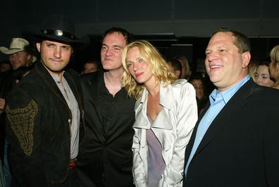 Director Quentin Tarantino, actress Uma Thurman and then Miramax chief Harvey Weinstein talk at the after-party for 'Kill Bill Vol. 2' in 2004