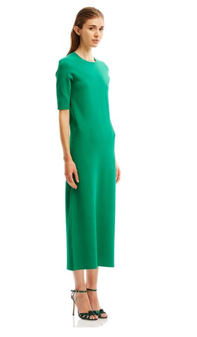 "The power dress <a href=""http://www.scanlantheodore.com/dresses/c57107-micro-crepe-sslv-dress"" target=""_blank"">Scanlan &amp; Theodore crepe dress, $500.</a>"