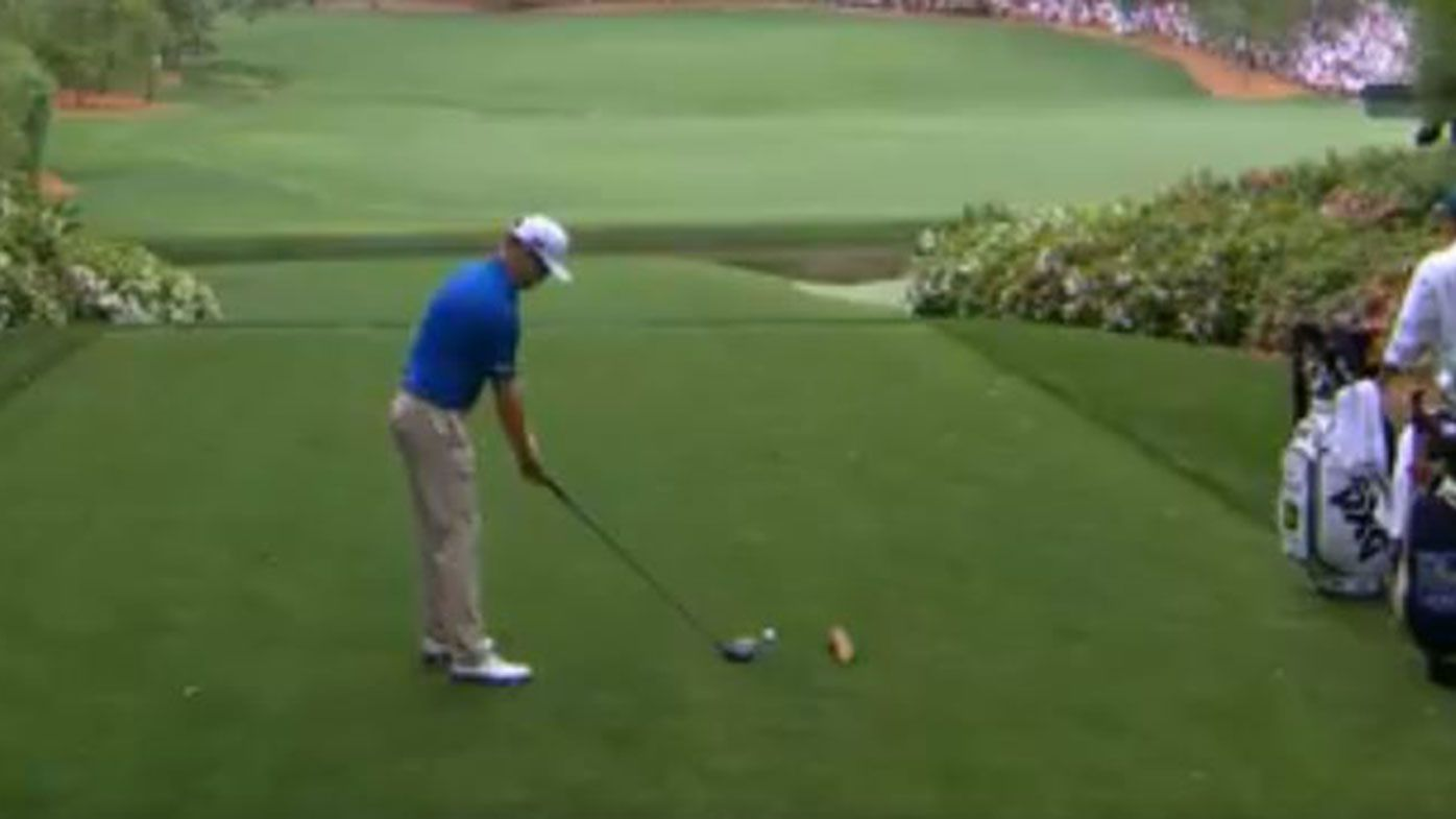 Zach Johnson was left red-faced after knocking his ball off the tee with his practice swing.