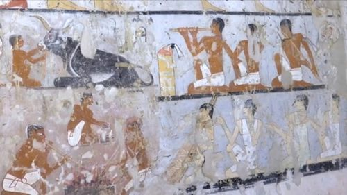 Wall paintings inside the 4400-year-old tomb. (AAP)
