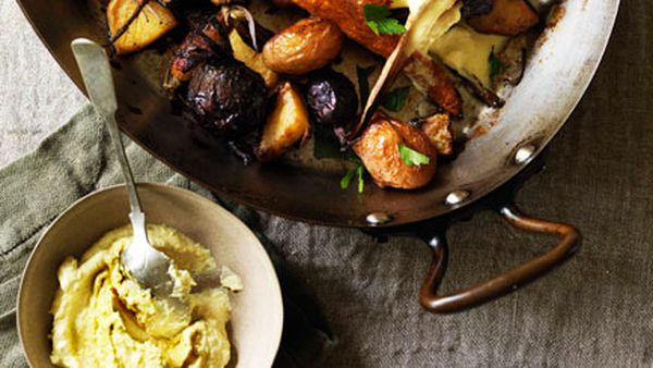 Root vegetables roasted in goose fat