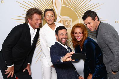 Richard Wilkins, Heidi, Cam, Jules and Rodger Corser pose during the 2019 TV WEEK Logie Awards Nominations Party