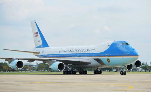 Mr Trump flies aboard Air Force One, which can undertake long-haul flights and even refuel in midair.