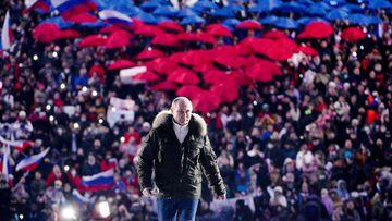 Russian President Vladimir Putin at a concert.