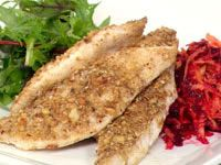Dukkah coated john dory with beetroot and carrot salad