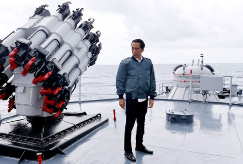 Indonesian President Joko Widodo onboard the Indonesian Navy ship KRI Imam Bonjol. Indonesia is aiming to modernise its naval forces.