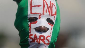 People demonstrate on the street to protest against police brutality, in Lagos, Nigeria