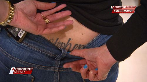 Nita has a tattoo of Stephen's name on her back. Picture: ACA