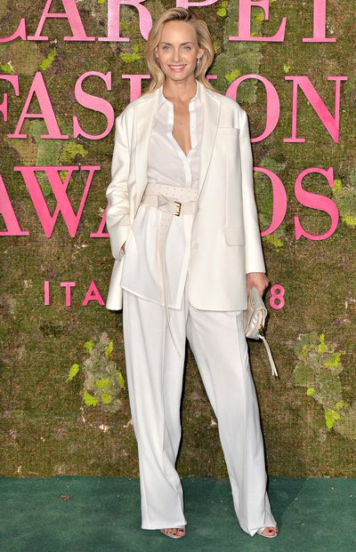 Actress Amber Valetta wears Italian fashion label Agnona.