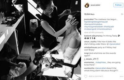 <p>Jessica Biel told fans she started drinking at noon. Before that however she shared a private moment with her makeup artist and manicurist captioning the image, 'The madness has begun'.</p> <p>Image: <em>Instagram</em>/@jessicabiel</p>