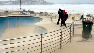 The skate park at Bondi Beach has been covered in a thick layer of sand. (AAP)