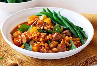 Lamb, barley and rosemary stew