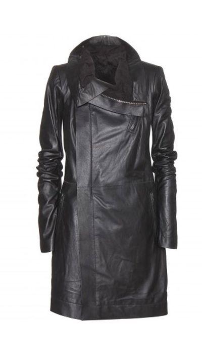 "<a href=""http://www.mytheresa.com/en-au/leather-coat-373458.html""> Long Biker Leather Jacket, $2731, Rick Owens</a>"