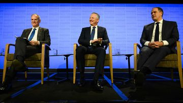 News Corp Executive Chairman Michael Miller, Nine Chief Executive Officer Hugh Marks and Managing Director ABC David Anderson.