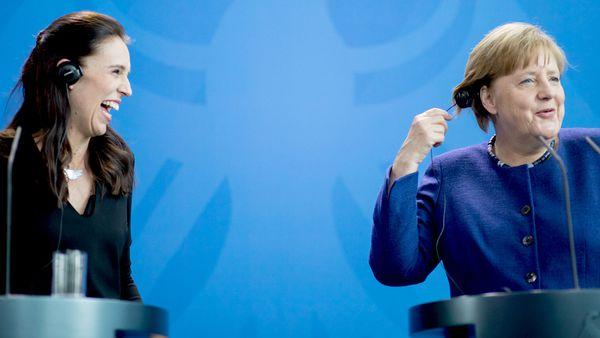 New Zealand Prime Minister Jacinda Ardern and German Chancellor Angela Merkel. (AAP)