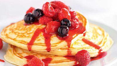 "Recipe:&nbsp;<a href=""http://kitchen.nine.com.au/2016/05/17/11/41/mixed-berry-ricotta-pancakes"" target=""_top"">Mixed berry ricotta pancakes</a>"