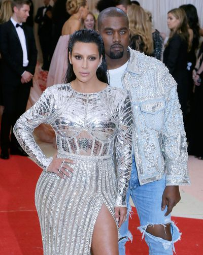 Kanye West and Kim Kardashian in Balmain at Manus x Machina: Fashion In An Age Of Technology Met Gala in 2016