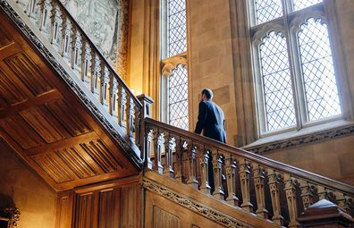 Downton Abbey's Highclere Castle interiors; staircase