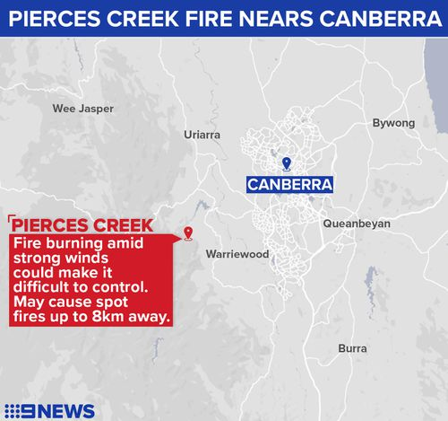The fire is located eight kilometres from the nearest suburb of Tuggeranong Valley, with rural areas in Tidbinbilla tracking station also at risk.