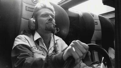 UK billionaire and maverick adventurer Richard Branson pilots his world-record-breaking speedboat across the Atlantic Ocean.