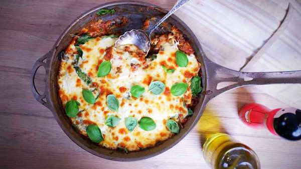 Easy, lazy lentil lasagna one-pan recipe