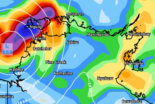 By the end of the weekend, Tropical Cyclone Marcus is set to have passed Darwin and moved further towards the northern Kimberley coast, as seen in this forecast for 5am Sunday. Picture: Weatherzone