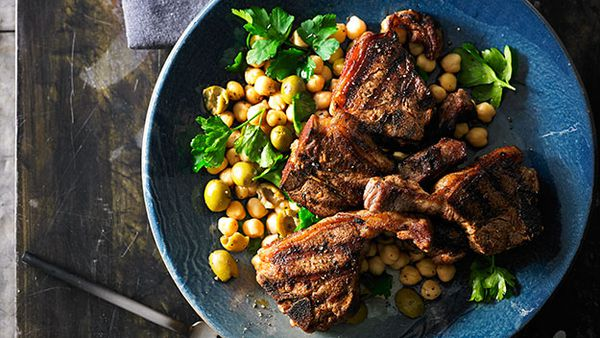 Smoked paprika lamb loin chops with chick pea and green olive salad