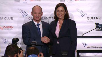 Campbell Newman and Annastacia Palaszczuk prior to the debate. (9NEWS)