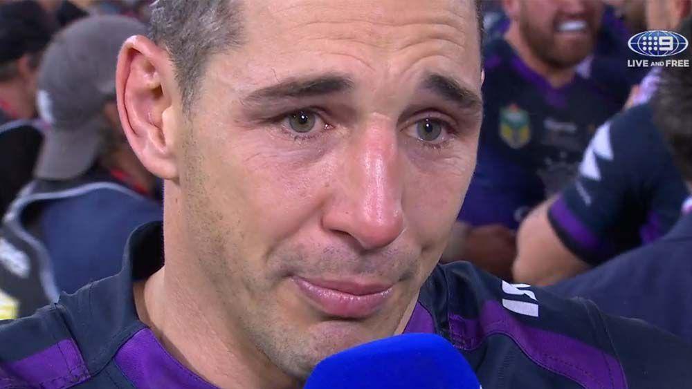 Emotional Billy Slater breaks down after Grand Final win