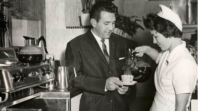 Hot coffee was served at the Pitt Street Sydney store in 1959. (Supplied)