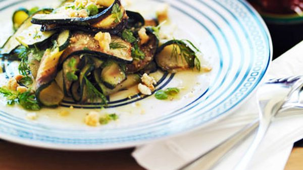 Char-grilled zucchini with feta and mint